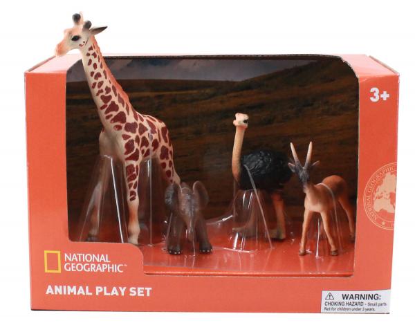 Set 4 figurine - Girafa, Elefantel, Strut si Antilopa 0