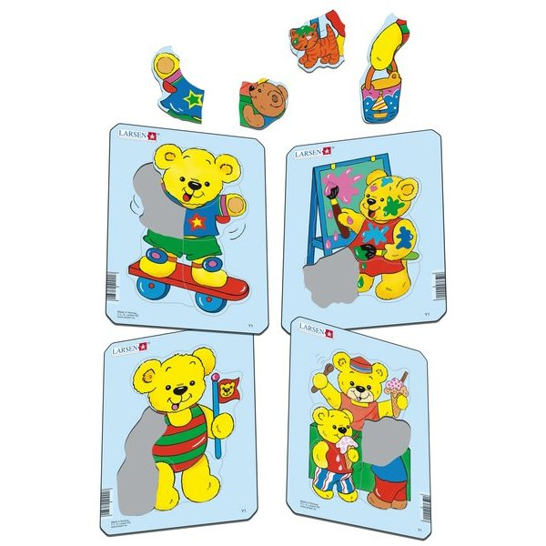Set 4 Puzzle-uri Ursuleti, 5 piese Larsen LRY1 1