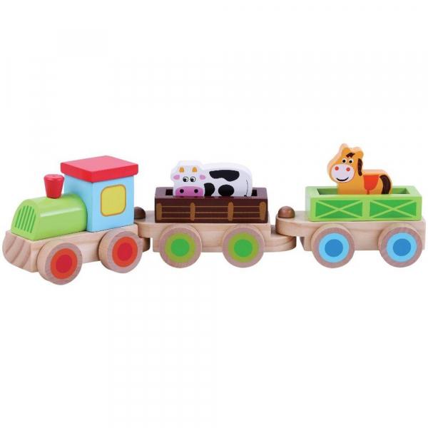 Trenulet  din lemn cu animale - Sun Baby 0