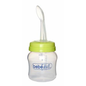Biberon din silicon 120 ml cu lingurita BebeduE 801680
