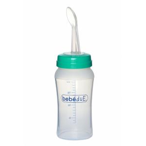Biberon din silicon 230 ml cu lingurita BebeduE 80169 [0]