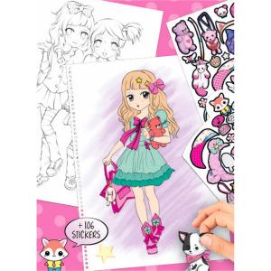 Carte de colorat + stickere Manga Model Depesche PT65811