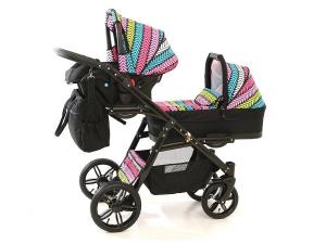 Carucior copii gemeni tandem 3 in 1, PJ STROLLER Lux, Multicolor [6]