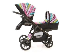 Carucior copii gemeni tandem 3 in 1, PJ STROLLER Lux, Multicolor [1]
