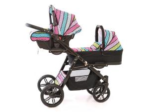Carucior copii gemeni tandem 3 in 1, PJ STROLLER Lux, Multicolor [3]