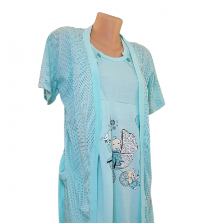 Compleu maternitate, Camasa alaptat + Halat gravide, Baby Stroller, Turquoise - Maneca scurta1