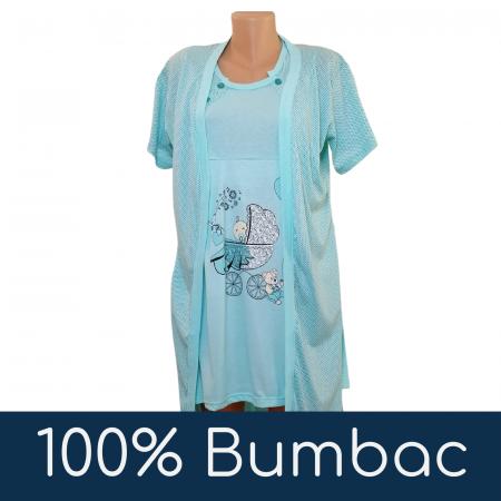Compleu maternitate, Camasa alaptat + Halat gravide, Baby Stroller, Turquoise - Maneca scurta4