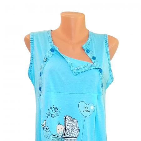 Compleu maternitate, Camasa alaptat + Halat gravide, Baby Stroller, Blue - Maneca scurta1
