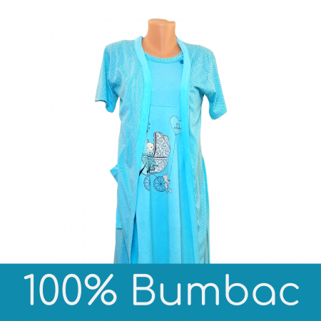 Compleu maternitate, Camasa alaptat + Halat gravide, Baby Stroller, Blue - Maneca scurta0