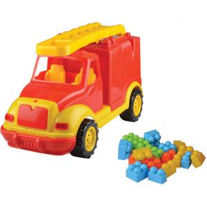 Masina pompieri 43 cm cu 38 piese constructie, in cutie Ucar Toys UC850