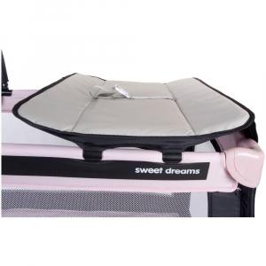 Patut Pliabil cu doua nivele si Sistem de Leganare Sweet Dreams - Sun Baby - Roz4