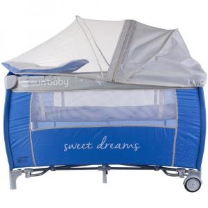Patut Pliabil cu Sistem de Leganare Sweet Dreams - Sun Baby - Albastru [0]