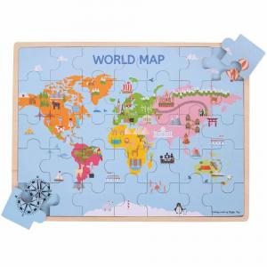 Puzzle din lemn - Harta lumii (35 piese)1