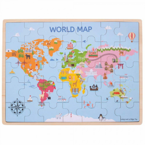 Puzzle din lemn - Harta lumii (35 piese)0