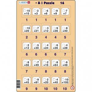 Set 16 Puzzle-uri Inmultire si Impartire, 25 Piese Larsen LRP4916