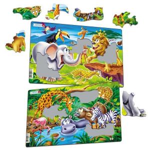 Set 2 Puzzle-uri Safari, 14 piese Larsen LRU111