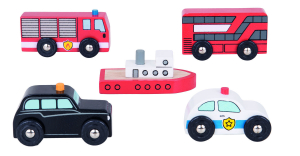 Set 5 vehicule din lemn0