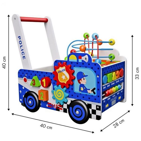 Antepremergator educational din lemn Ecotoys HM013239, masina de politie, multicolor 2