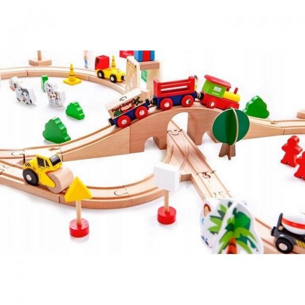 Circuit din lemn cale ferata din 78 piese Ecotoys HM008999 [5]