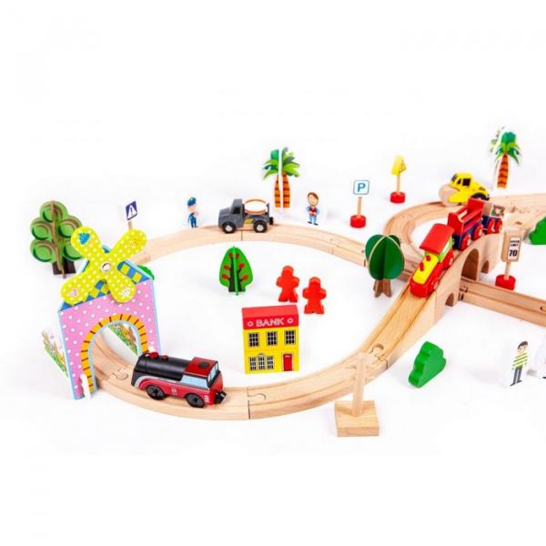 Circuit din lemn cale ferata din 78 piese Ecotoys HM008999 [1]