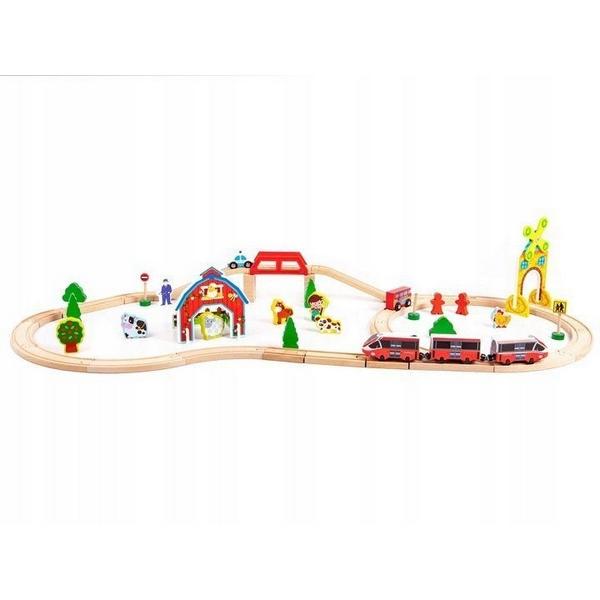 Circuit din lemn ECOTOYS HM180995, 53 piese si trenulet, multicolor 1