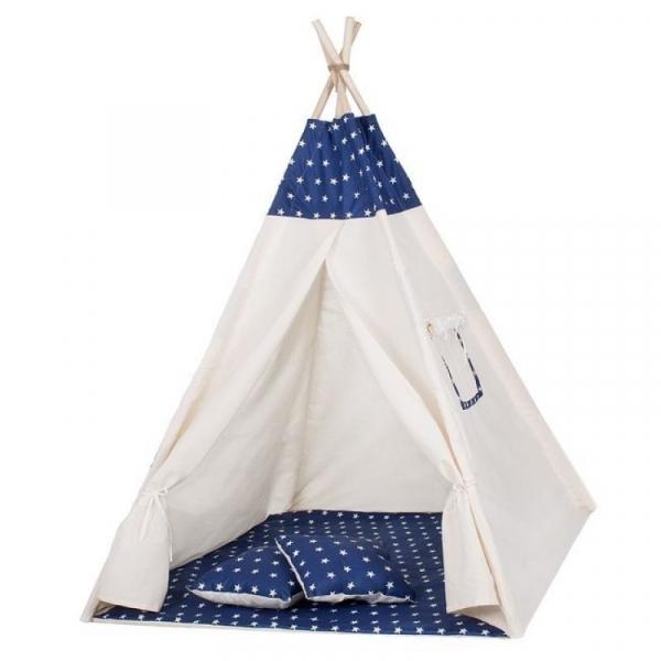 Cort copii stil indian Teepee Dark Blue Stars XXL Springos [0]
