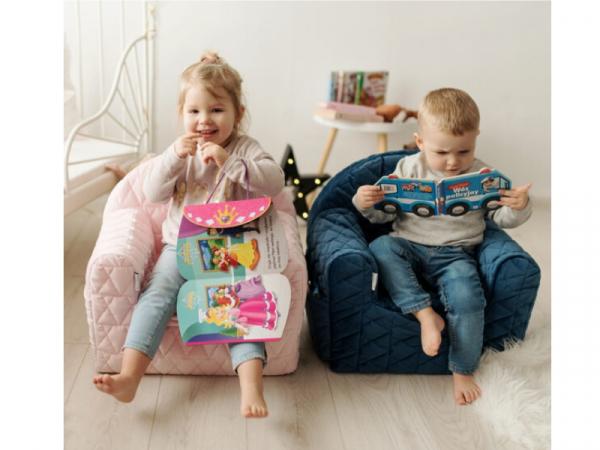 Fotoliu Copii Klups Velvet Roz V101 3