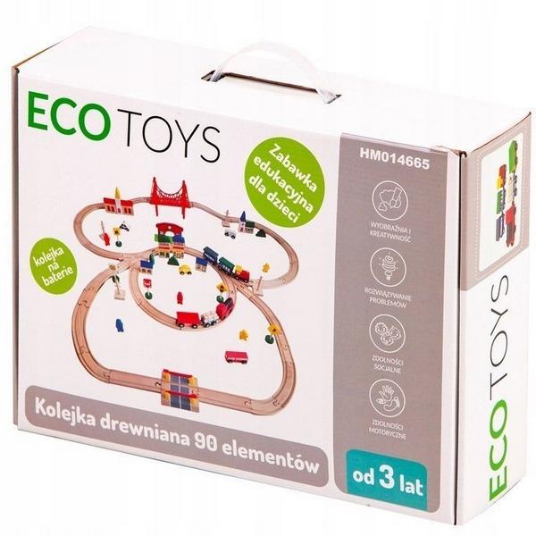 Joc Circuit din lemn, ECOTOYS HM014665, cu trenulet si masinute, 90 de elemente 5