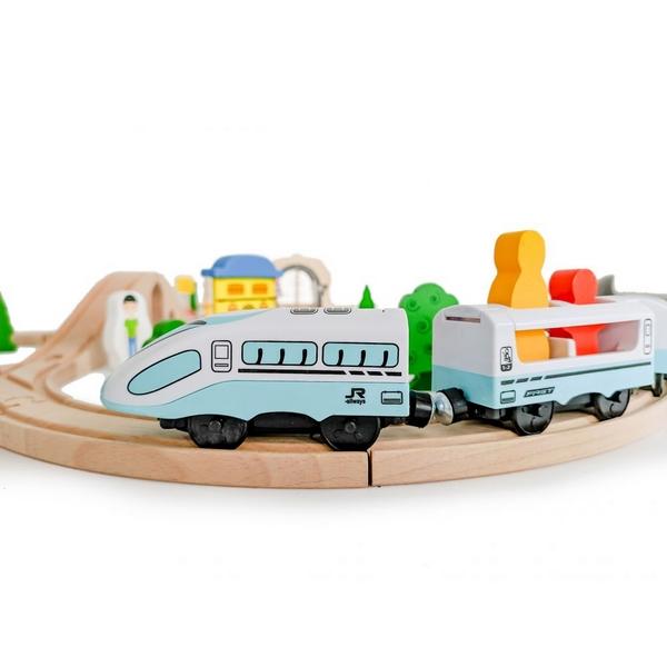 Jucarie cale ferata din lemn cu tren cu baterii Ecotoys HM015147, 69 elemente, multicolor 4
