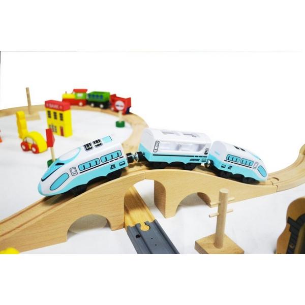 Jucarie cale ferata din lemn cu tren cu baterii Ecotoys HM015147, 69 elemente, multicolor 7
