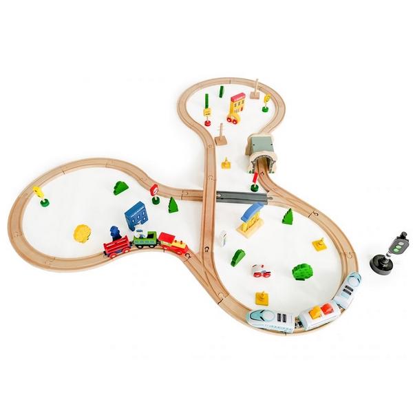 Jucarie cale ferata din lemn cu tren cu baterii Ecotoys HM015147, 69 elemente, multicolor 1