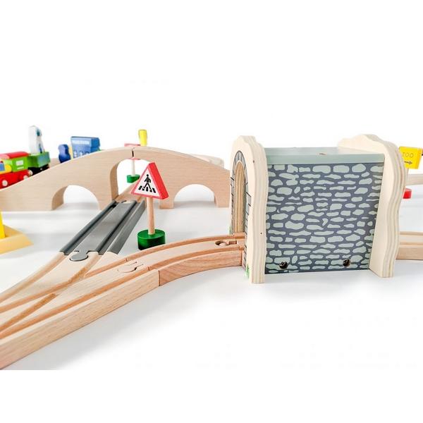 Jucarie cale ferata din lemn cu tren cu baterii Ecotoys HM015147, 69 elemente, multicolor 5