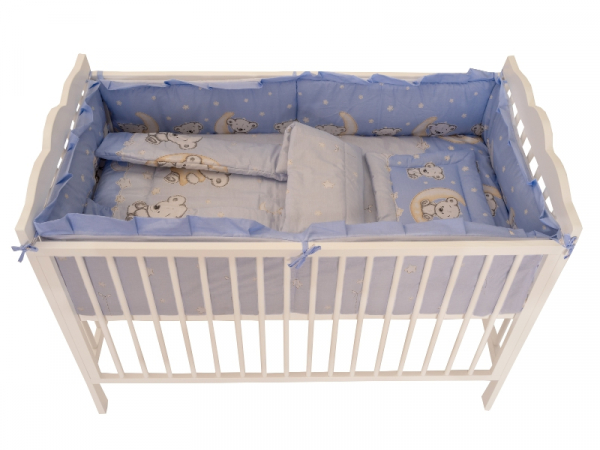 Lenjerie MyKids Bear On Moon Blue M2 4+1 Piese 120x60 0