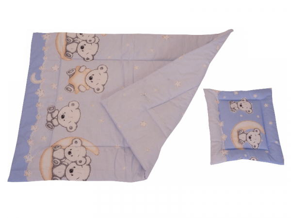 Lenjerie MyKids Bear On Moon Blue M2 4+1 Piese 120x60 3