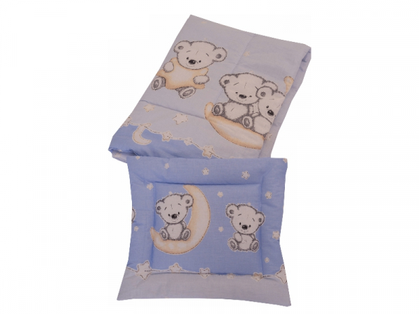Lenjerie MyKids Bear On Moon Blue M2 4+1 Piese 120x60 1