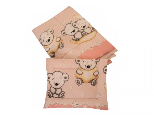 Lenjerie MyKids Bear On Moon Pink M2 4+1 Piese 140x70 2