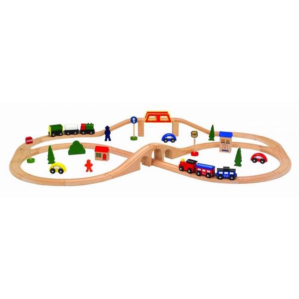 Linie de tren din lemn Ecotoys 2