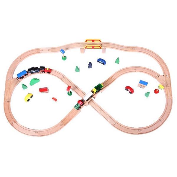 Linie de tren din lemn Ecotoys 1