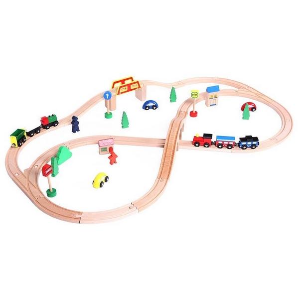 Linie de tren din lemn Ecotoys 0