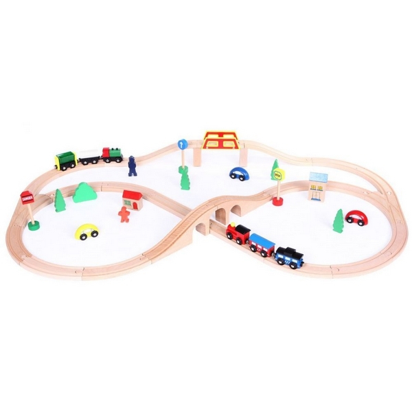 Linie de tren din lemn Ecotoys 5
