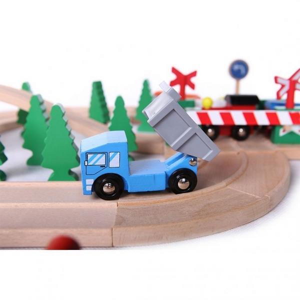 Linie de tren din lemn ECOTOYS HJD93940, 75 piese 4
