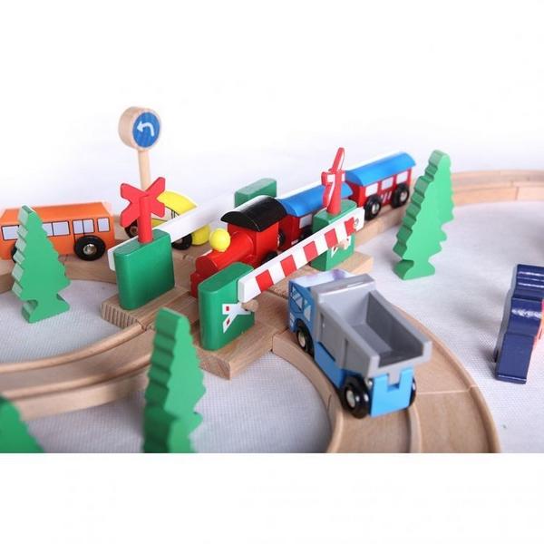 Linie de tren din lemn ECOTOYS HJD93940, 75 piese 5