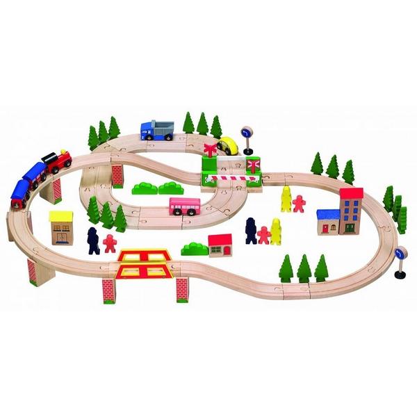 Linie de tren din lemn ECOTOYS HJD93940, 75 piese 1