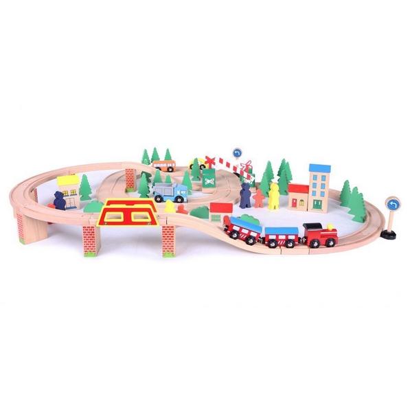Linie de tren din lemn ECOTOYS HJD93940, 75 piese 2