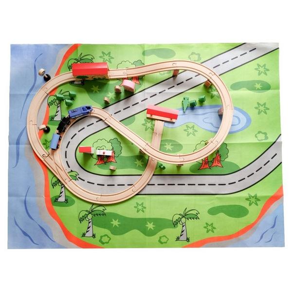 Linie de tren din lemn ECOTOYS HJD93949 , 50 de piese 1