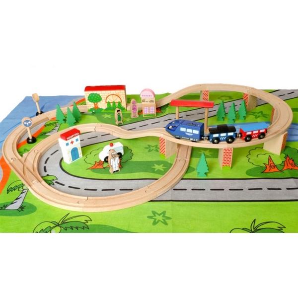 Linie de tren din lemn ECOTOYS HJD93949 , 50 de piese 0
