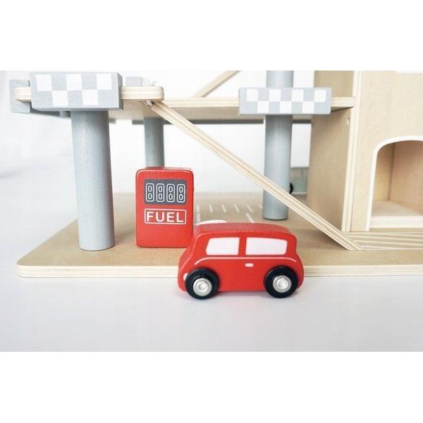 Parcare din lemn cu etaje si lift Ecotoys CA12104 1