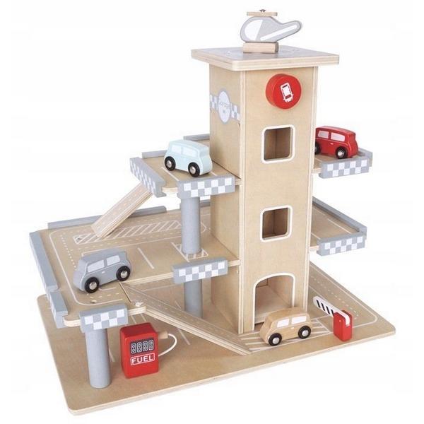 Parcare din lemn cu etaje si lift Ecotoys CA12104 0