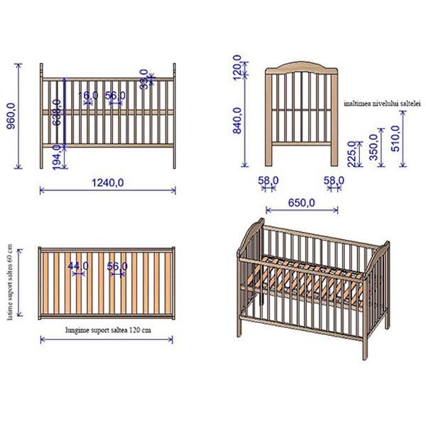 Patut copii din lemn Hubners Lizett 120x60 cm venghe [1]