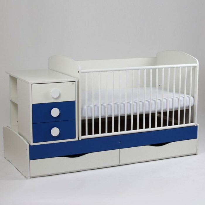 Patut copii transformabil Silence Alb-Albastru inchis Bebe Design 0